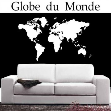 sticker carte du monde france stickers. Black Bedroom Furniture Sets. Home Design Ideas