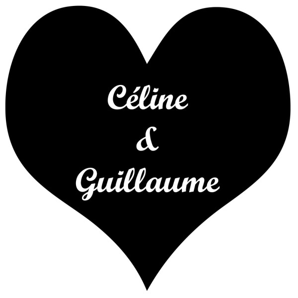 Stickers mariage coeur plein personnalis france for Stickers exterieur personnalise