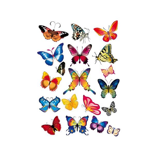 Stickers planche de 19 papillons france stickers - Image de papillon a imprimer ...
