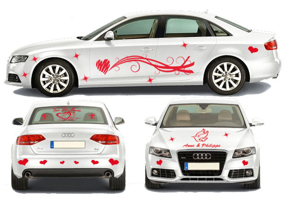 Stickers Mariage Voiture (Kit Complet 40 Pcs) ·.¸¸ France Stickers