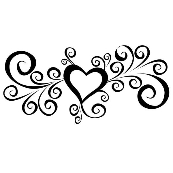 Stickers mariage coeur floral france stickers - Image de coeur a colorier ...