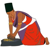 Jeune Femme écrasant des grains de blé