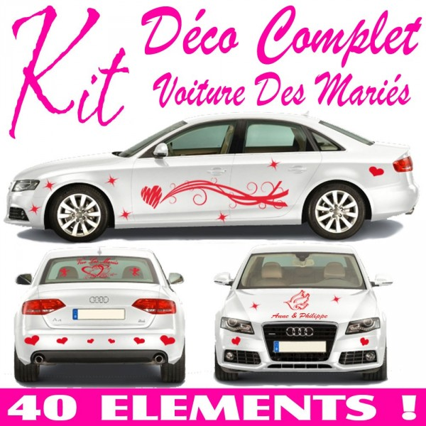 stickers mariage voiture kit complet 40 pcs france stickers. Black Bedroom Furniture Sets. Home Design Ideas