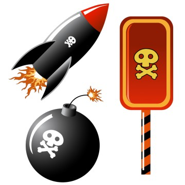 Stickers fusée bombe et tête de mort