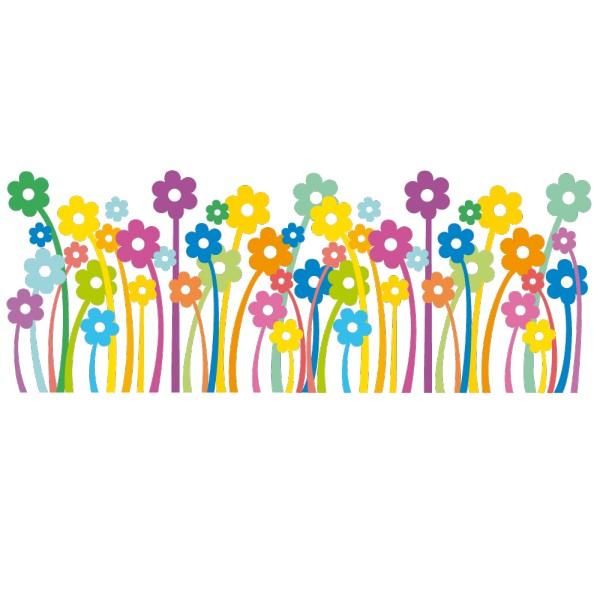 Sticker frise fleurs france stickers - Dessin de fleur en couleur ...