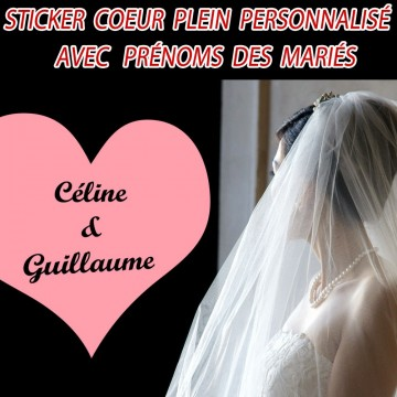 stickers mariage coeur plein personnalis france stickers. Black Bedroom Furniture Sets. Home Design Ideas