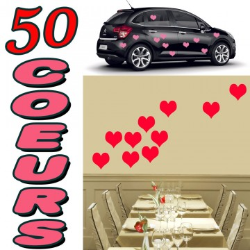 Stickers Mariage  50 Coeurs Pleins