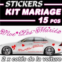 Stickers Kit Voiture Mariage (15 Pcs)