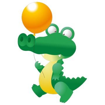 Stickers  crocodile et son ballon