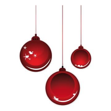 Stickers Boules de Noël Rouge