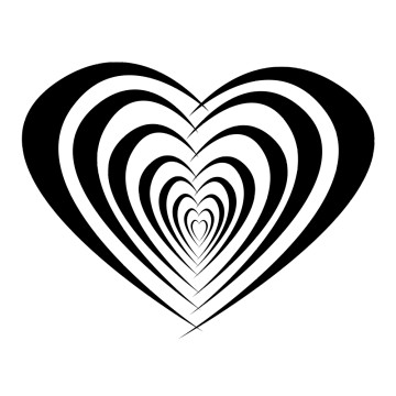 Stickers Mariage Coeur effet superposé