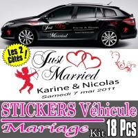 Sticker Déco Voiture Mariage (Kit 2 cotés complet 18 Pcs)