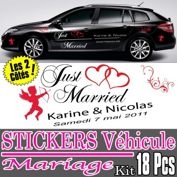 Stickers Mariage Voiture (Kit 2 cotés complet 18 Pcs)