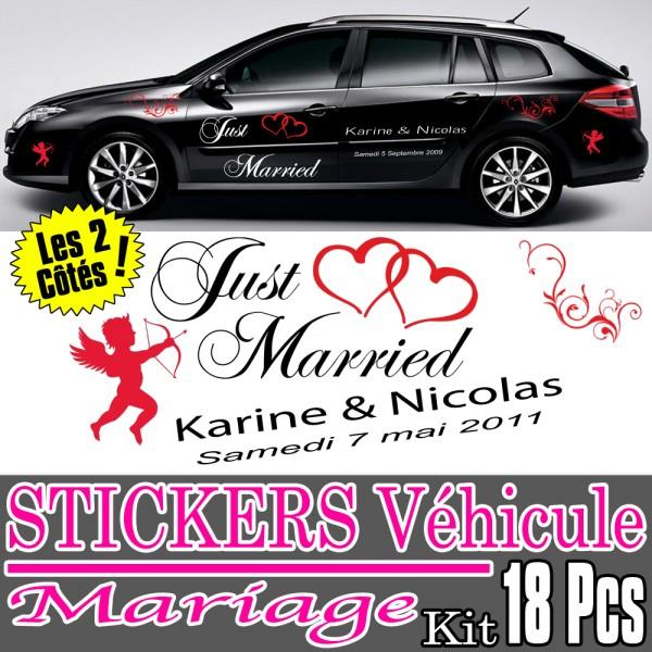 Stickers Mariage Voiture (Kit 2 Cotés Complet) ·.¸¸ France