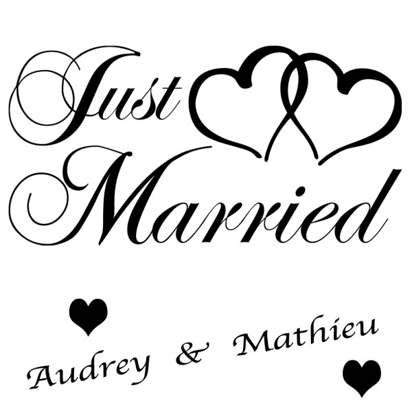 stickers just married avec double coeur france stickers. Black Bedroom Furniture Sets. Home Design Ideas