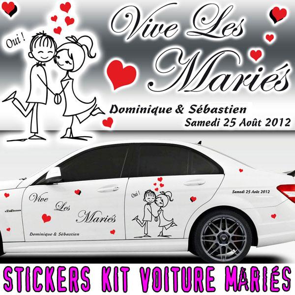 Stickers Déco Voiture Mariage avec Personnages (Kit 2 cotés)