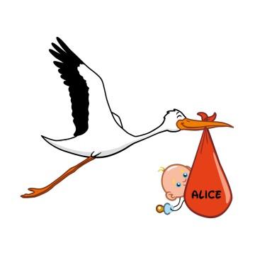 Cigogne Et Bébé stickers cigogne et bébé personnalisé ·.¸¸ france stickers ¸¸.·