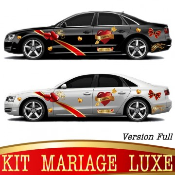 Stickers Autocollants Voiture Mariage kit Luxe Version. Full