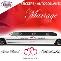 Deco Voiture Mariage Stikers Autocollants (avec double coeur)