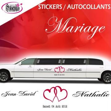Stickers Voiture Mariage Stickers Autocollants (avec double coeur)