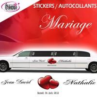 Deco Voiture Mariage Stikers Autocollants (avec Coeur Autocollant au choix)