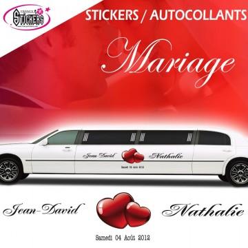 Stickers Voiture Mariage Stickers Autocollants (avec Coeur Autocollant au choix)