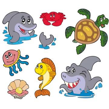 Stickers Autocollant Poissons Tropicaux par planche