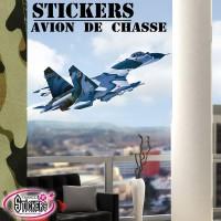 Stickers Autocollants Avion de Chasse bleu