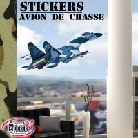 stickers Avion de Chasse bleu