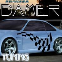 Planche de 2 stickers Tuning Damier- 9