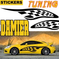 Planche de 2 Stickers Tuning Damier 12