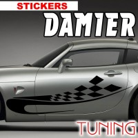 Planche de 2 Stickers Tuning Damier 13