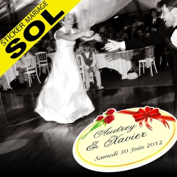 Stickers Mariage Spécial Sol - Rose Ruban