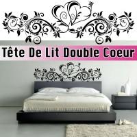 Stickers Tête de Lit Floral Double Coeur