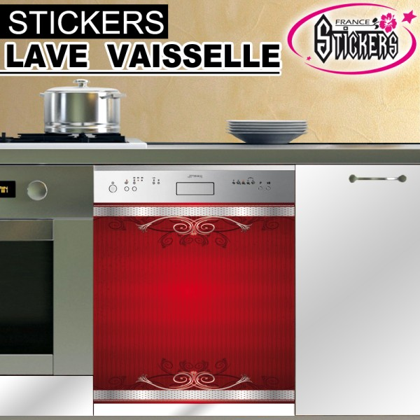 Stickers lave vaisselle rouge france stickers for Stickers pour cuisine rouge