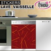 Stickers Lave Vaisselle Rouge Orangé
