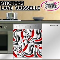 Stickers Lave Vaisselle Nuance Gris Rouge