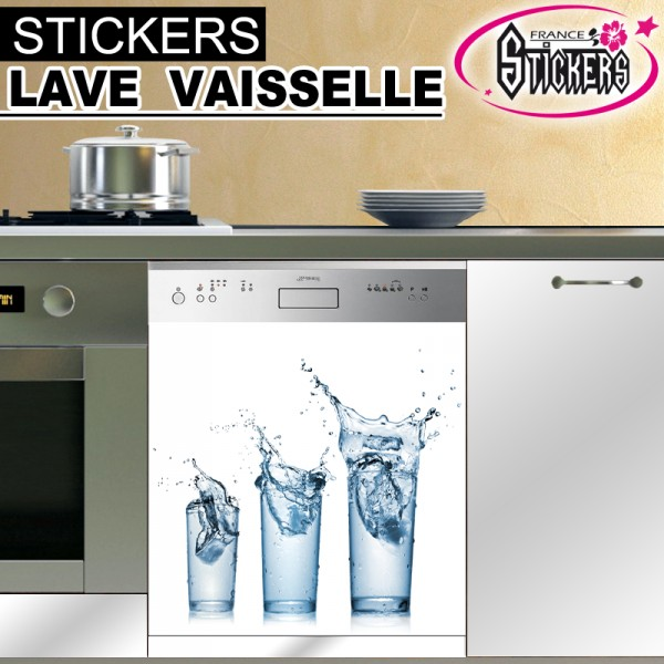 stickers lave vaisselle 3 verres france stickers. Black Bedroom Furniture Sets. Home Design Ideas
