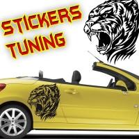 Stickers tête de tigre tribal  4