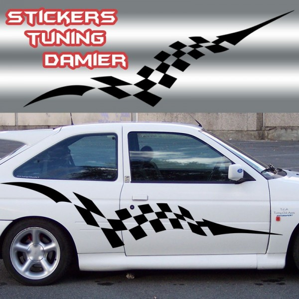 stickers tuning voiture damier france stickers. Black Bedroom Furniture Sets. Home Design Ideas