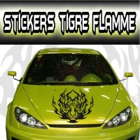 Stickers Tête de Tigre Flamme 4