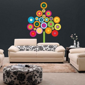 stickers Arbre Ronds Multicolore