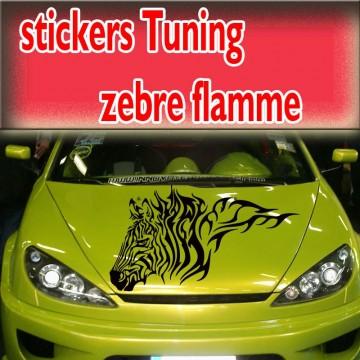 Stickers Tuning Zèbre Flamme