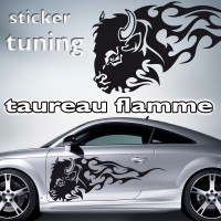 stickers Tuning Taureau Flamme 3