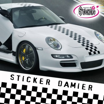 Stickers Tuning Damier Bande Viper par 2