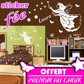 Stickers f e etoiles et papillons offert france for Stickers exterieur personnalise