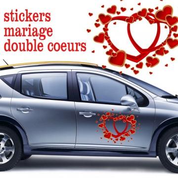 stickers double coeurs et petits coeurs vendu par 2