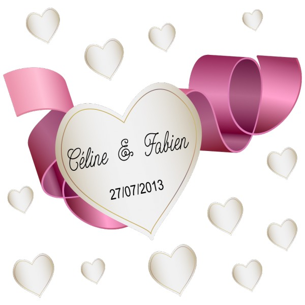 stickers mariage coeur avec ruban personnalis france stickers. Black Bedroom Furniture Sets. Home Design Ideas