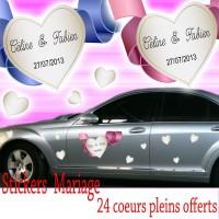 Stickers Mariage cœurs avec ruban