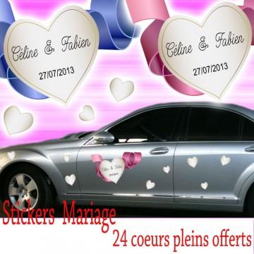 Stickers Mariage coeœurs avec ruban